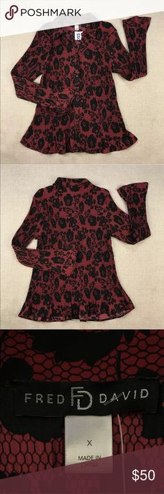 "Fred David Floral Long Sleeve Blouse Fred David Floral Long Sleeve Blouse  Women's Plus Size: 1X  Colors: Red Black  No flaws.  Measurements lying flat: Shoulder to Shoulder 18"", Armpit to Armpit 22"", Sleeve's Length 23"", Length 26"".  Please, review pictures. You will get the item shown. Smoke & pet free home. Fred David Tops Button Down Shirts"