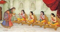 The brothers grow up together (detail) Krishna Hindu, Bal Krishna, Hindu Deities, Hinduism, Ram Pic, Ramayana Story, Lord Sri Rama, Lord Rama Images, Sita Ram