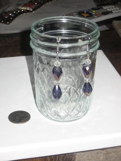 Dangle Earrings made with Purple Iridescent Teardrop by cthorses66, $3.99