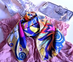 Exotic bird and Greek mythology...the Garden of Eden scarf.