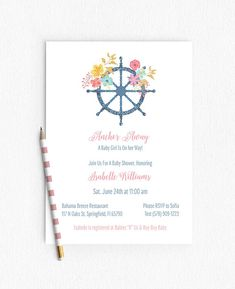 Pink Blue Nautical Baby Shower Invitation Girl Party Stripes