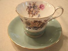 VINTAGE TURQUOISE AYNSLEY TEA CUP SAUCER SET PRETTY FLOWER PATTERN