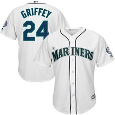 Ken Griffey Jr Seattle Mariners Majestic 2016 Hall Of Fame Induction Cool Base Jersey with Sleeve Patch - White