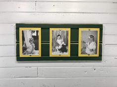 Green and Yellow picture triple frame holds photos.