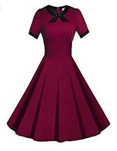 Viwenni Women's Scoop Neck Vintage Casual 1950'S Retro Bridesmaid Dress(Darkred,L)
