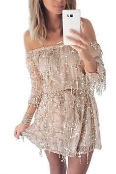 Off the Shoulder Long Sleeve Sequined Detail A-Line Mini Dress