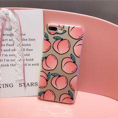Cute transparent peaches iPhone case, soft and squishy material. Cute Cases, Cute Phone Cases, Iphone Phone Cases, Phone Covers, Coque Iphone 4, Coque Smartphone, Iphone 8 Plus, Telephone Iphone, Floral Iphone Case