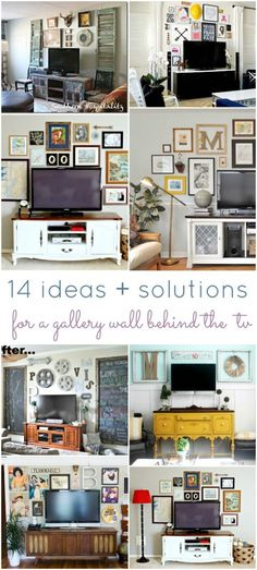 14 ideas and solutions for a gallery wall behind the tv