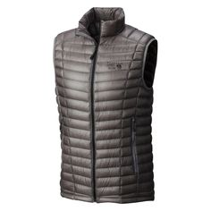 Mountain Hardware - Ghost Whisperer Down Vest, 154g, hydrophobic down, with collar, but not great reviews: http://www.trailspace.com/gear/mountain-hardwear/ghost-whisperer-down-vest/    Part from hydrophobic coating, does it really offer anything that the Uniqlo at £40? https://www.uniqlo.com/uk/en/product/men-ultra-light-down-vest--400502.html?dwvar_400502_color=COL16&dwvar_400502_size=SMA002&cgid=IDm-bombers17341