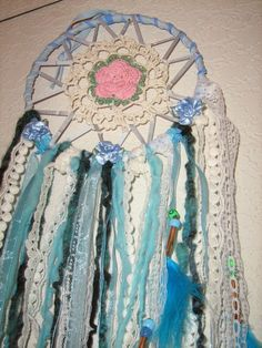 Indian Moondancer Dreamcatcher to the Moon,handmade with crochet,lace,and ribbon