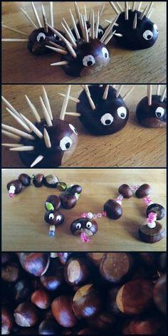 DIY Mit Kindern basteln # Kastanien # Igel & Schlangen