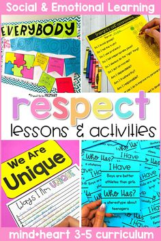 This respect SEL curriculum includes 5 detailed lessons filled with hands-on and mindful activities that teach older kids about what respect means, ways to show respect, integrity and honesty, accepting differences, and stereotypes, at school and in the classroom. Children will build social skills with picture books and writing lessons, respect games, and role playing. #sel #socialemotionlearning #classroommanagement #charactereducation #socialskills #teachingrespect #respectactivities Respect Activities, Teaching Respect, Writing Activities, Social Emotional Development, Social Emotional Learning, Social Skills, Social Work, Respect Lessons, Character Education Lessons