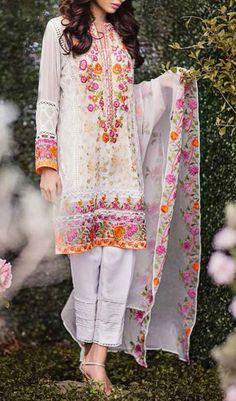 Buy White Embroidered Chiffon Dress by Mina Hasan 2015.