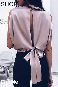 Sleeveless open back blouse shirt women solid bow blouse Elegant womens short tops Femme summer blusas mujer, zi / XL Black Women Fashion, Look Fashion, Trendy Fashion, Womens Fashion, Fashion Tips, Feminine Fashion, Fashion Brands, Fashion Online, Moda Do Momento