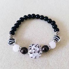 Black, White and Brown Beaded Glass Bracelet, Stretch Bracelet Unique Bracelets, Crystal Bracelets, Fashion Bracelets, Seed Bead Jewelry, Beaded Jewelry, Swarovski Crystal Beads, Beaded Rings, Glass Beads, Black Glass