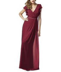 DescriptionDessy Collection Style 2874Full length bridesmaid dressVneckline with ruffle cap sleeveMatching belt at natural waistLux chiffonDesignerThe Dessy Group was originally known as A