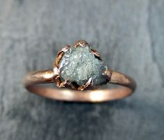 Raw Diamond Solitaire Engagement Ring Rough 14k rose by byAngeline omg