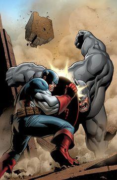 Captain America Vs Rhino by Clayton Henry