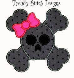 Skull and Crossbones GIRL Applique Design Machine Embroidery Design. $3.99, via Etsy.