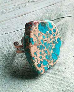 Jewelry Junkie Chunky Blue Regalite Ring, Blue