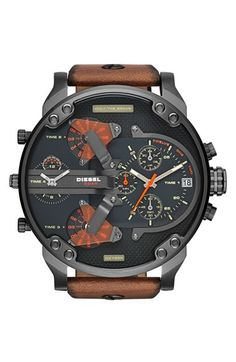 DIESEL® 'Mr. Daddy 2.0' Chronograph Leather Strap Watch, 57mm available at #Nordstrom