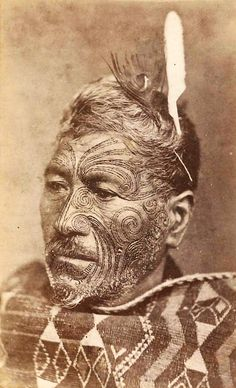 New Zeland | Portrait of Hati Wira Takahi, Ngapuhi chief.	Hati Wira Takah, King Country | Auckland : E Pulman, c1873 Haka New Zealand, Ta Moko Tattoo, Polynesian People, Vintage Travel Themes, Maori People, Maori Art, King And Country, Thinking Day, Human Art