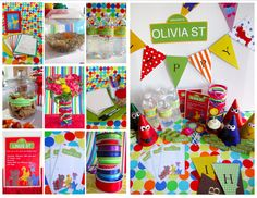 Cute Clever Sesame Street Party Ideas Use scrapbook paper to make happy bday sign