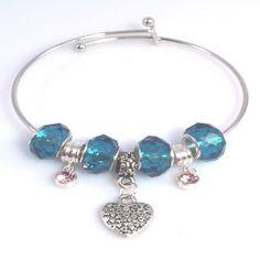 Silver Heart Adjustable Bangle Bracelet