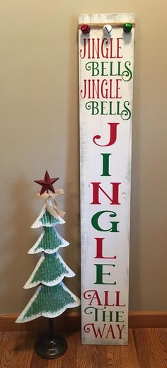 Reversible Give Thanks/ Jingle Bells or Snowy Welcome image 4 Pallet Christmas, Christmas Bells, Christmas Art, Christmas Stuff, Wooden Signs With Sayings, Diy Wood Signs, Sign Sayings, Jingle Bell Crafts, Jingle Bells