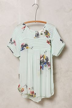 I'm picky about prints, especially florals, but this one is simple and pretty. Springtide Pintuck Blouse #anthropologie