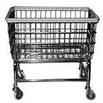 Coin Op Cart And Basket Chrome by R & B Wire. $117.30. Durable. Wire Basket. Heavy duty chromed steel frame. RB's most popular rack and cart. Extra strong with large rack capacity. Heavy duty basket with thick air cushioned bumper. 4 inch MegaCasters. Basket is 27 inch x 22 1/2 inch x 11 inch deep by 65 ½ inch overall height. Available in all chrome .Basket & Cart without Rack  Chrome26 3/4 inch heightUPS 30 lbs. dimensional weight.Single pole rack shown