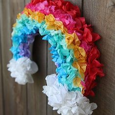 DIY Tissue Paper Rainbow Wreath