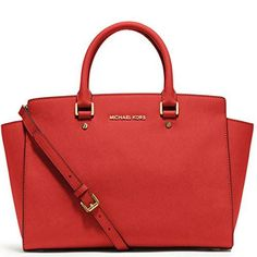 Michael Kora Selma Leather Handbag New Red Leather