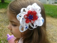 Loopy Patriotic Hairbow. 4th of July Bow.