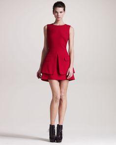 Alexander McQueen - Trompe Loeil jacket Dress Red