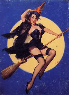 Now that is a sexy witch-Vintage Halloween witch pinup