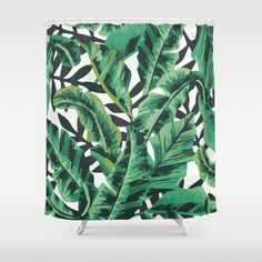 Buy Shower Curtains featuring Tropical Glam Banana Leaf Print by Nikki. Made from 100% easy care polyester our designer shower curtains are printed in the USA and feature a 12 button-hole top for simple hanging.