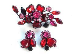 Red Rhinestone Heart Jewelry Set Pink Love Jewelry Brooch Earrings from kiamichi7, $125.00  #Etsy