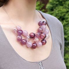 Plum pink & crimson bubble beads lampwork necklace by KatyaGlass