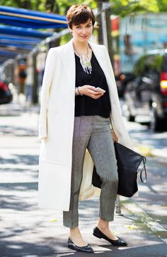 Statement Necklace + Blouse + Cropped Pants + Flats