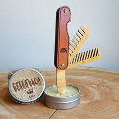 Multi-tool Beard Comb with Balm Knife - Folding Wood Pocket Travel Grooming Accessory Made of Sustainable Bamboo and Hardwood - The Trio - Blue Men Moustache, Black Men Beards, Barber Shop Decor, Paul Reed Smith, Beard Model, Beard Grooming, Grooming Kit, Mens Gear, Beard Balm