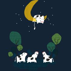 A cow jump over the moon is a T Shirt designed by radiomode to illustrate your life and is available at Design By Humans