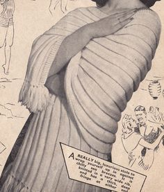 Vintage Knitting Pattern Instructions Ladies Sun Top/Boob Tube and Stole/Shawl