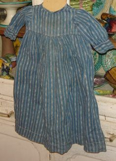Early Striped Blue Calico Infant Or Doll Dress