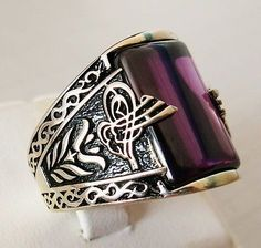 Handmade Amethyst Stone 925 Sterling Silver Men's Ring + Free Resizing