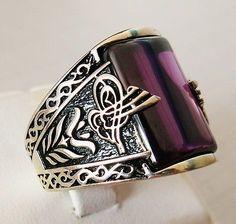 Handmade Amethyst Stone 925 Sterling Silver Men\'s Ring + Free Resizing