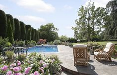 The grounds are also equipped with an outdoor pool (pictured) and a tennis court for alfresco living - the property has previously been used for village parties