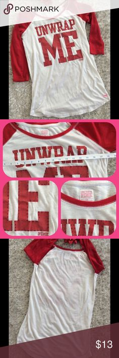 PINK sleepshirt Oversize small.  Baseball jersey style.  Good used condition.  Missing one stone on the E as shown. PINK Victoria's Secret Intimates & Sleepwear