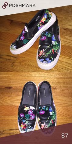 """Forever 21 floral """"vans"""" look alikes Black with colorful floral design Forever 21 Shoes Sneakers"""