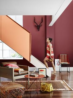 As an earthy shade, warm red-browns work well year round - especially paired with wood and copper. This room is painted in Dulux Devils Backbone and Kuratau. Red Paint Colors, Paint Color Chart, Paint Color Schemes, Wall Colors, Interior Color Schemes, Interior Paint Colors, Colorful Decor, Colorful Interiors, Copper Colour Scheme